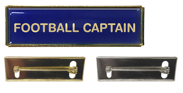 Sports Captain Rectangle Polydome Budget Badge Gold Finish
